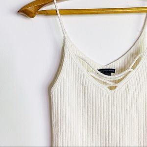 🌵American Eagle White ribbed cotton knit tank top
